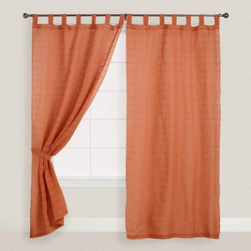 Burnt Orange Striped Sahaj Jute Tab Top Curtains, Set of 2