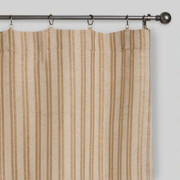 Natural Striped Jute Iron Ring Curtains, Set of 2