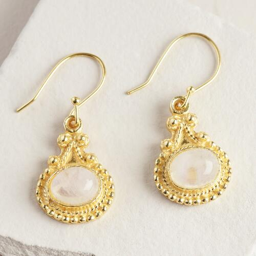 Gold Jaipur Moonstone Drop Earrings