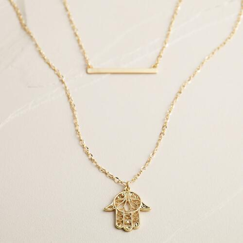 Gold Bar and Hamsa Pendant Necklace