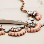 Gold and Blush Rhinestone Statement Necklace