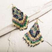 Peacock Bead and Fringe Dangle Earrings