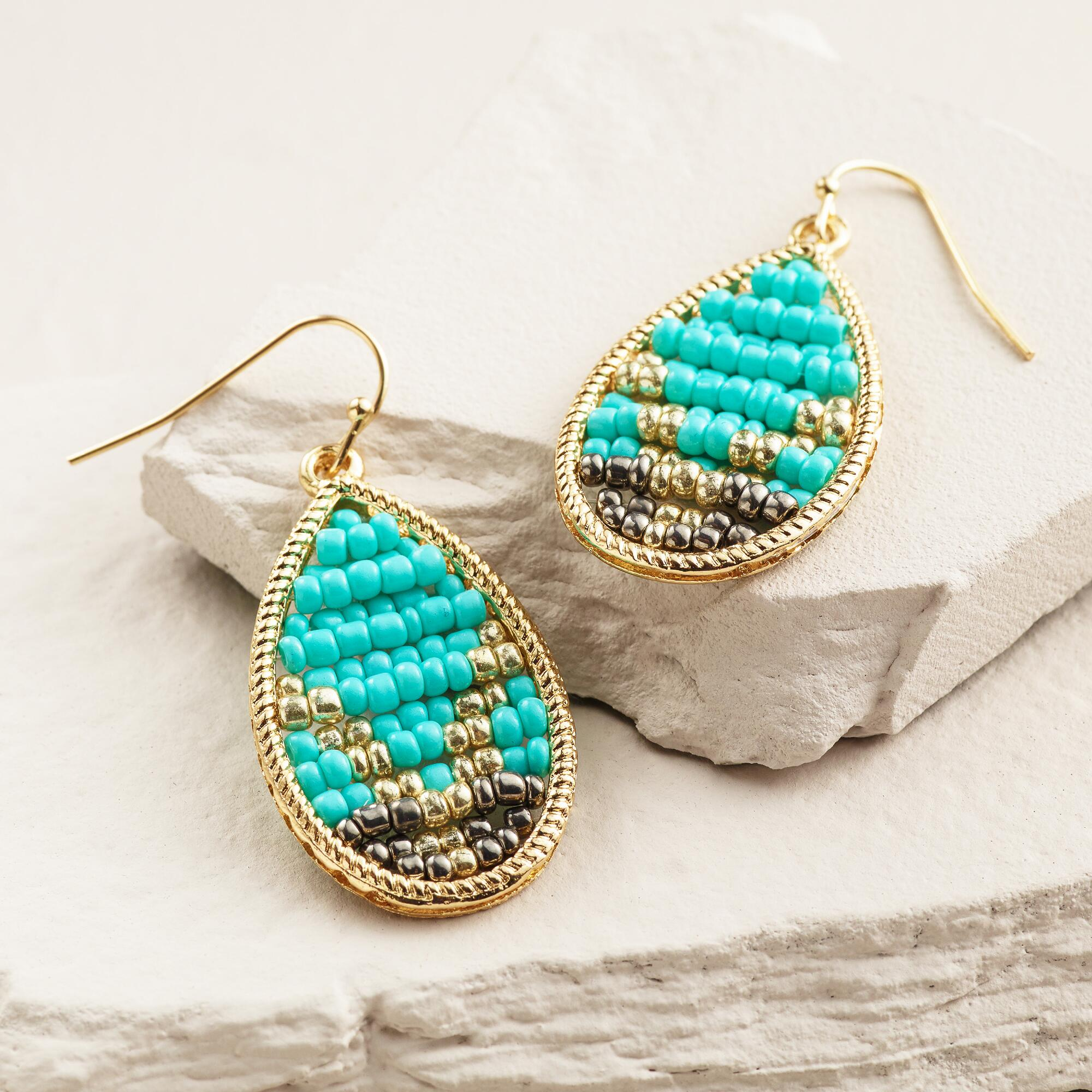 gold and turquoise beaded chevron teardrop earrings. Black Bedroom Furniture Sets. Home Design Ideas