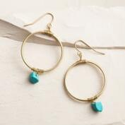 Gold and Turquoise Dangle Hoop Earrings