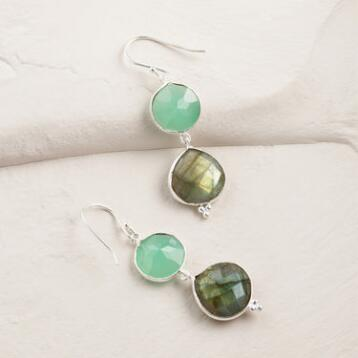 Aqua and Labradorite Double Drop Earrings