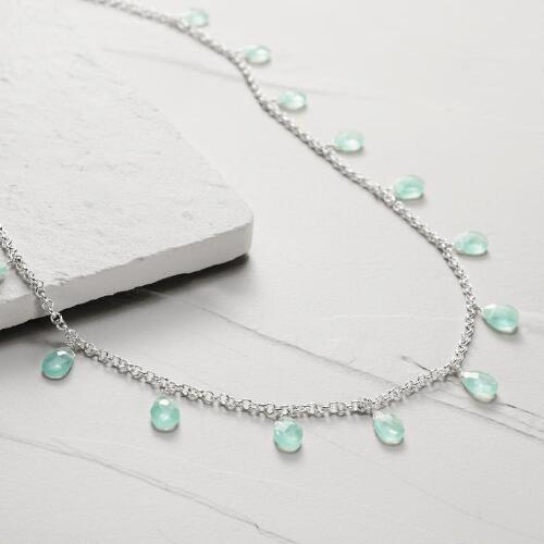 Silver and Aqua Stone Necklace