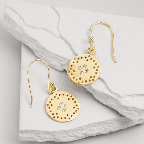 Small Gold Cubic Zirconia Drop Earrings