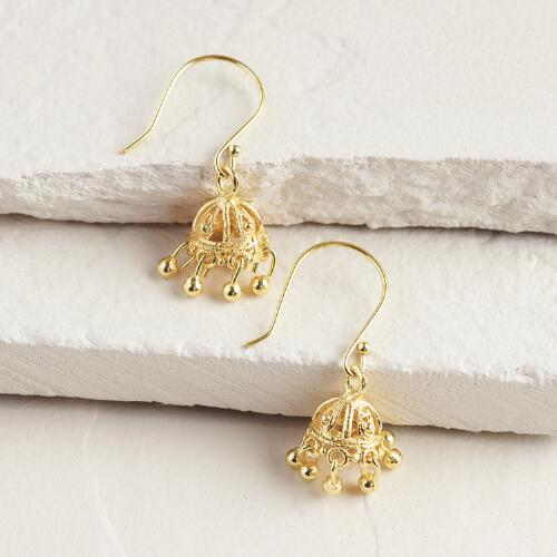 Gold Indian-Style Dangle Earrings