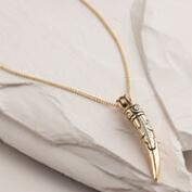 Gold Carved Horn Pendant Necklace