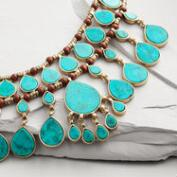Gold and Turquoise Layered Teardrop Statement Necklace
