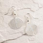 Silver Filigree Leaf Drop Earrings