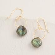 Gold Labradorite Stone Drop Earrings