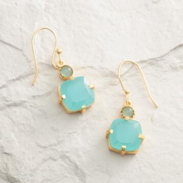 Gold and Aqua Square Drop Earrings