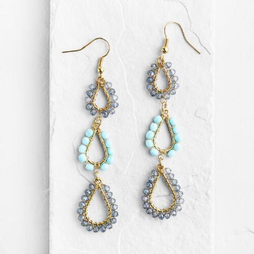 Blue Beaded 3-Tier Dangle Earrings