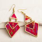 Fuchsia Tribal Geometric Drop Earrings