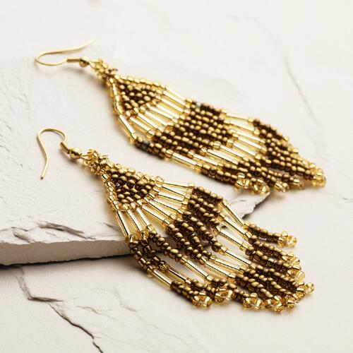 Gold Fringe Dangle Earrings
