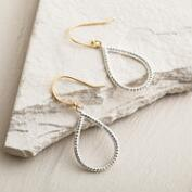 Small Silver 2-Tone Teardrop Earrings