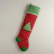 Holiday Tree Oversized Knit Stocking