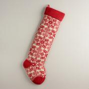Red Snowflake Oversized Knit Stocking