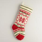 Swiss Snowflake Knit Stocking
