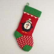 Holiday Penguin Knit Stocking