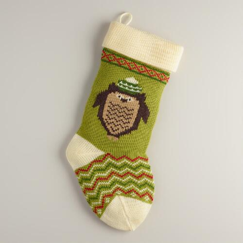 Holiday Owl Knit Stocking
