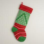 Green Holiday Tree Knit Stocking