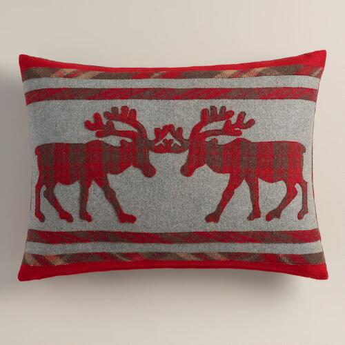 Plaid Stag Boiled Wool Lumbar Pillow