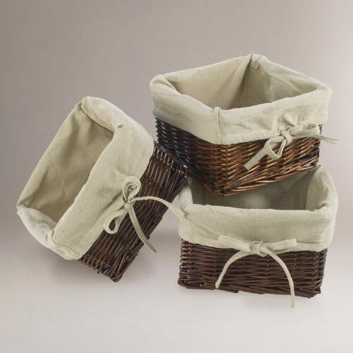 Dark Brown Isabella Willow Mini Baskets Set of 3