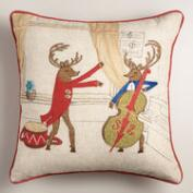 Reindeer Musician Throw Pillow