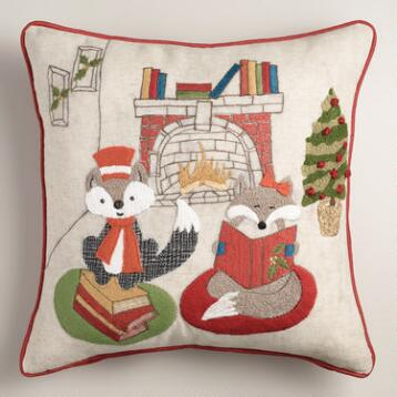 Reading Foxes Throw Pillow
