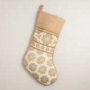 Gold Metallic Snowflake Jute Stocking