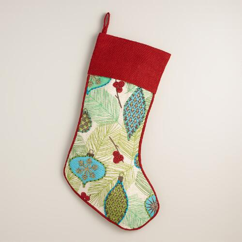 Embroidered Ornament Bleached Jute Stocking