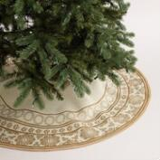 Gold Metallic Snowflake Jute Tree Skirt