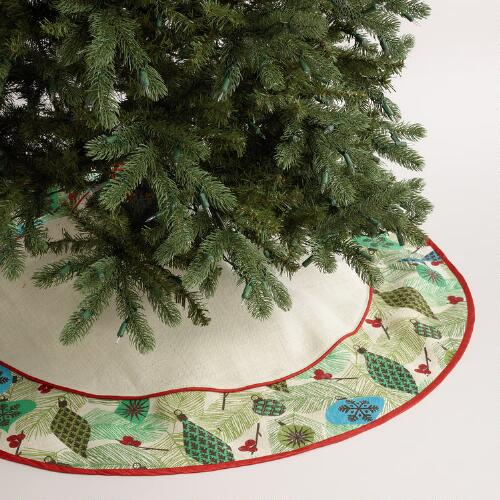 Embroidered Ornament Bleached Jute Tree Skirt