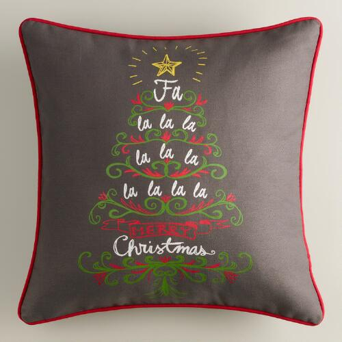 Holiday Tree Slate Throw Pillow