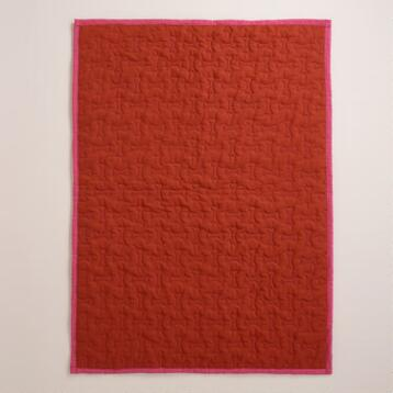 Fuchsia and Red Dog Bone Cargo Pet Throw