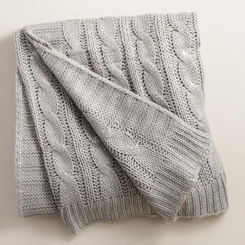 Silver Metallic Cable Knit Throw