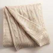 Champagne Metallic Cable Knit Throw