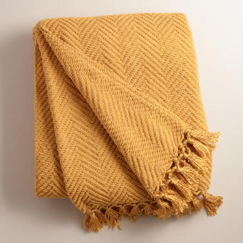 Gold Chunky Chenille Throw