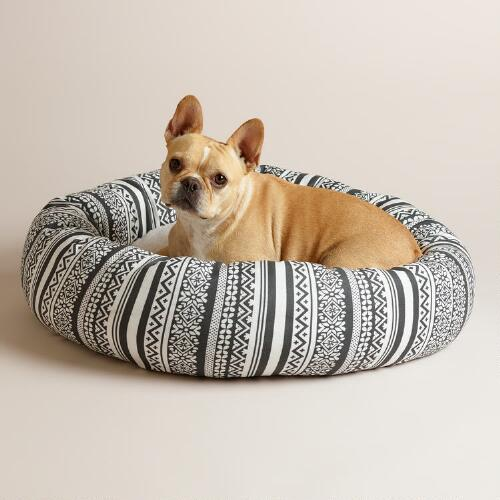Gray Fair Isle Fleece Donut Pet Bed with Sherpa Lining