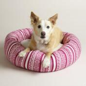 Pink Fair Isle Fleece Donut Pet Bed with Sherpa Lining