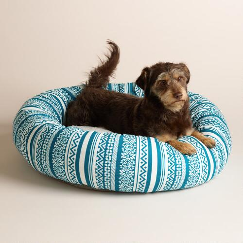 Blue Fair Isle Fleece Donut Pet Bed with Sherpa Lining