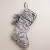 Gray Chunky Faux Fur Stocking
