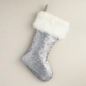 Matte Silver Sequined Stocking
