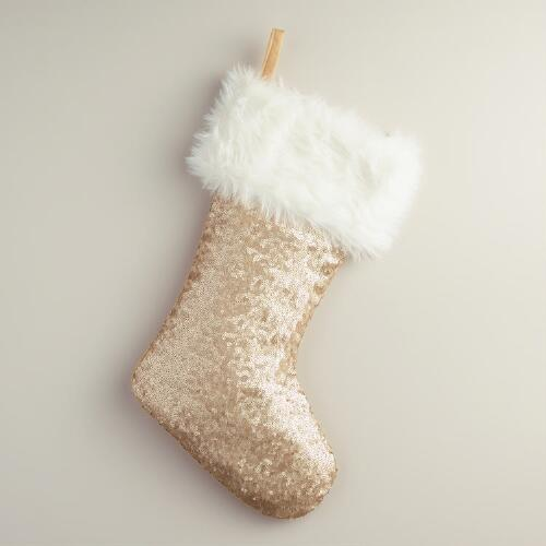 Matte Gold Sequined Stocking