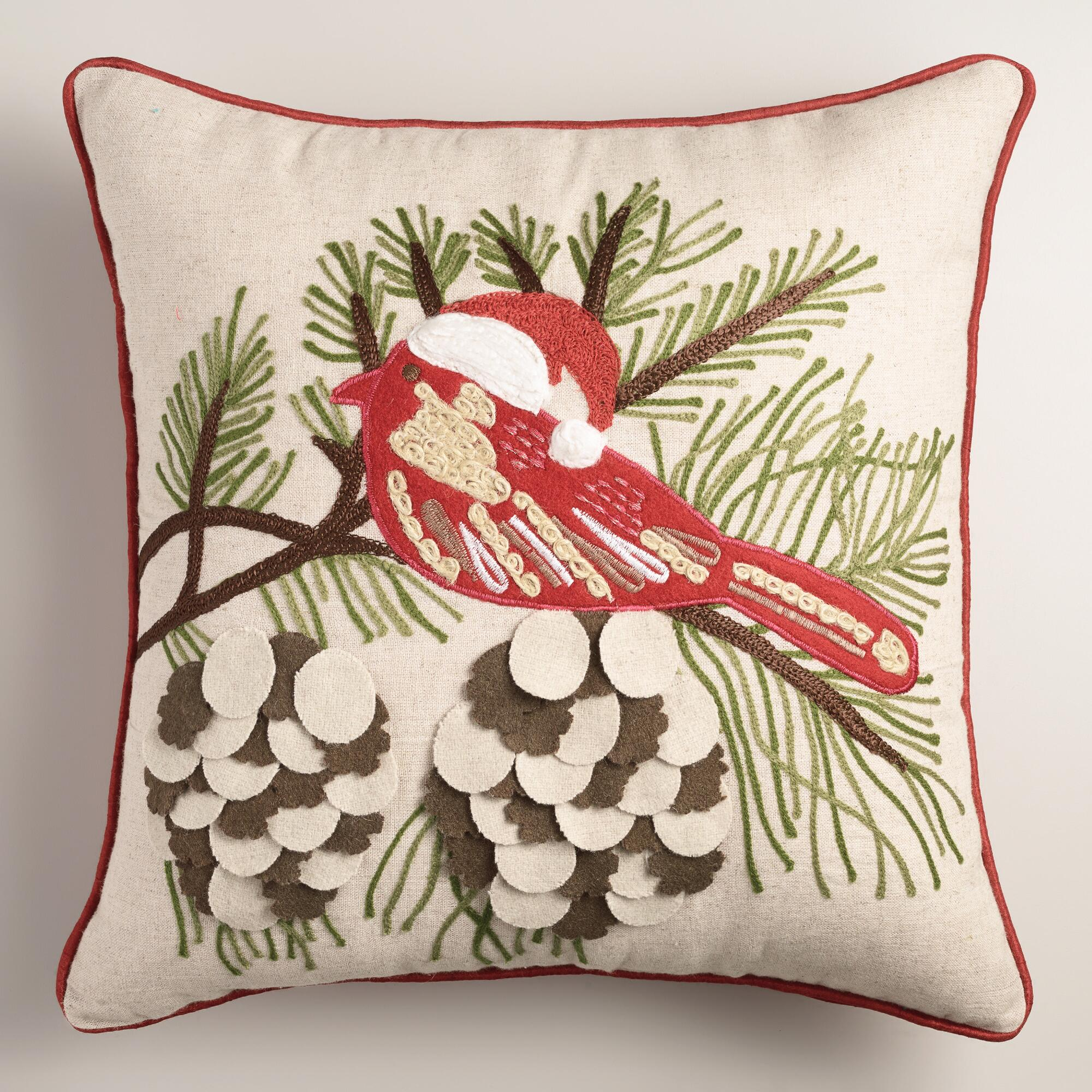 Throw Pillows With Birds : Winter Bird Embroidered Throw Pillow World Market