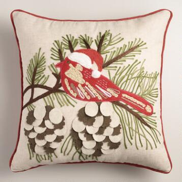Winter Bird Embroidered  Throw Pillow