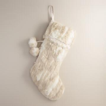 Ivory Chunky Faux Fur Stocking