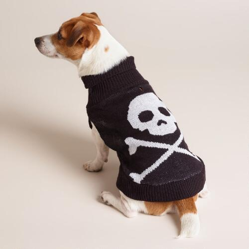 Skull and Crossbones Knit Dog Sweater
